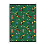 Joy Carpets Playful Patterns Children's Pit Stop Area Rug, Green, 0.9m x 1.5m
