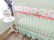 Tushies and Tantrums Bumperless Crib Bedding with Arrow Rail Guard, Aqua/Coral