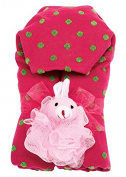 AM PM Kids! Hooded Towel, Hot Pink and Green Dot