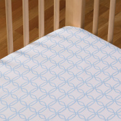 Living Textiles Cotton Poplin Fitted Sheet, Blue Links