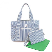 Bella Tunno Gathered Tote Classic Canvas Baby Bag, Navy Stripe