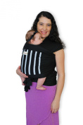 Maman Kangourou Amerigo Stretchy Wrap Baby Carrier, Black Ringed