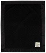 My Blankee Minky Dot Velour Black and Flat Satin Border, Baby Blanket 80cm X 90cm