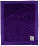 My Blankee Minky Dot Velour Purple and Flat Satin Border, Baby Blanket 80cm X 90cm