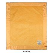 My Blankee Minky Dot Velour Mango with Mango Flat Satin Border, Baby Blanket 80cm x 90cm