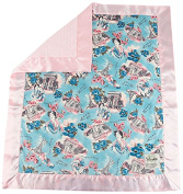 My Blankee Paris Minky Velour Pink with Minky Dot Velour Pink and Flat Satin Border, Baby Blanket 80cm x 90cm