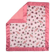 My Blankee Sharkies Minky Velour Pink with Minky Dot Velour Watermelon and Flat Satin Border, Baby Blanket 80cm x 90cm