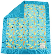 My Blankee Zoom Minky Velour and Minky Dot Velour Turquoise with Turquoise Flat Satin Border, Baby Blanket 80cm x 90cm