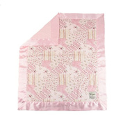 My Blankee Suzy Q Minky Velour with Minky Dot Velour Pink and Pink Flat Satin Border, Baby Blanket 80cm x 90cm