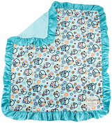 My Blankee Peace Flower Minky Velour Aqua with Minky Dot Velour Topaz and Flat Satin Border, Baby Blanket 80cm x 90cm