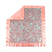 My Blankee Madison Minky Velour with Minky Dot Velour Coral and Coral Flat Satin Border, Baby Blanket 80cm x 90cm