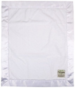 My Blankee Luxe White with Flat Satin Border, Baby Blanket 80cm x 90cm