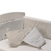 Living Textiles Jersey Pintuck Bumper, Grey/Grey Stripe