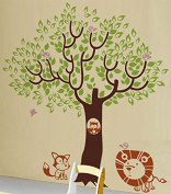 Pop Decors Vinyl Art Wall Decals Mural for Nursery Room, Leaf Tree With Cute Animals Removable Dark Brown