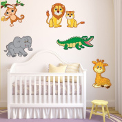 Style and Apply Colourful Safari Animal Wall Decal Set