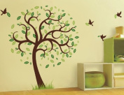 Pop Decors Removable Vinyl Art Wall Decals Mural for Nursery Room, Hope Tree with Flying Birds