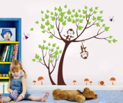 Pop Decors Removable Vinyl Art Wall Decals Mural for Nursery Room, Monkeys Party