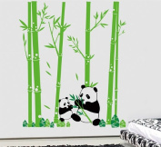 Pop Decors Removable Vinyl Art Wall Decals Mural for Nursery Room, Pandas Love Bamboo