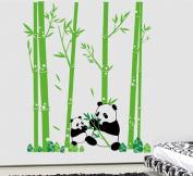Pop Decors Removable Vinyl Art Wall Decals Mural for Nursery Room, Pandas Love Bamboo