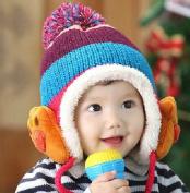 Dealzip Inc® Lovely Bear's Paw Pom-pom Pattern Baby Kids Crochet Winter Hat Cap -Blue