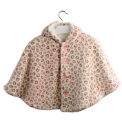 Avitalk Leopard Printed Newborn Baby Infant Cashmere Baby Cape with Hooded Cloak 0-3 Years