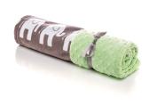 Elonka Nichole Gender Neutral Receving Blanket, White Elephants Green/Grey