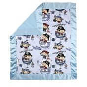 My Blankee Pirates Minky Velour Blue with Dot Velour Blue and Blue Flat Satin Border, Baby Blanket 80cm x 90cm