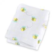 Lulujo Baby Muslin Cotton Swaddling Blanket, Bumbling Bee, 120cm x 120cm
