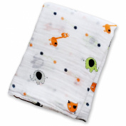 Lulujo Baby Muslin Cotton Swaddling Blanket, Janimals, 120cm x 120cm