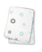 Lulujo Baby Muslin Cotton Swaddling Blanket, Circles/Aqua, 120cm x 120cm