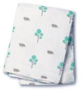 Lulujo Baby Muslin Cotton Swaddling Blanket, Hippo/Aqua, 120cm x 120cm