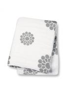 Lulujo Baby Muslin Cotton Swaddling Blanket, Grey Peonies, 120cm x 120cm