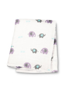 Lulujo Baby Muslin Cotton Swaddling Blanket, Elephants on Parade, 120cm x 120cm