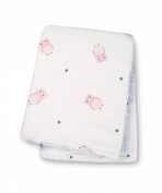 Lulujo Baby Muslin Cotton Swaddling Blanket, Owl Always Love You/Pink, 120cm x 120cm