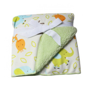 Avitalk Newborn Infant Bilayer Cartoon Baby Blanket with Plush Backing