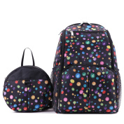 Mummy Polka Dot Large Capacity Nappy Changing Nappy Backpacks Bag With A Small Baby Infant Child Backpack Black