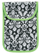 AM PM Kids! Nappy Clutch, Damask with Lime Green