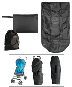 JAVOedge Black Stoller Bag for Over the Top of the Stroller, Waterproof with Bonus Drawstring Bag