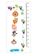 Removable Cartoon Animal Zoo Growth Chart Lion,tiger,pig,dog & Monkey Nursery Wall Decal Sticker Mural Decor for Children