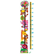 Lovely Colourful Owl Growth Chart Removable Animal Nursery Wall Decal Sticker Mural Decor for Children Room