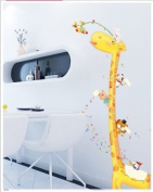 Adorable Giraffe with Height Measurement Wall Decals