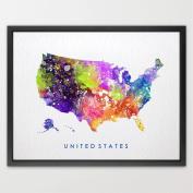 8X10 USA Map world map watercolour print kids art home décor nursery décor wall art print children's room décor wall hanging playroom décor N223