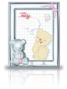 Silver Touch USA Sterling Silver Picture Frame Featuring Teddybear Holding a Bottle, Pink