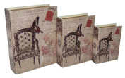 Cheung's Rattan Imports Vinyl Book Box with Carte Postal and Vintage Print, 33cm by 23cm , Set of 3
