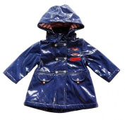Baby Girls Faux Leather Blue Trench Coat Jacket