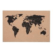 Stylo Frameless Cork Board World Map 400mm x 600mm