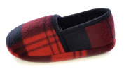Boy's Girl's Children's Fleece Cheque Tartan Flannel Design Winter Style Full Back Slippers Shoes Style - Red Blue - Toddler Size UK 9 - 3