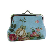 Rose Flower Printed Canvas Hasp Coin Purse Key Card Holder Wallet Clutch Bag