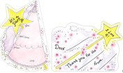 Kids Fairy Princess Hat Die-Cut Fill-In Party Invitations for Girls (8) with Coordinating Star Wand Thank You Cards (8) Bundle