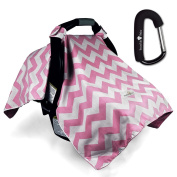 Bonafide Baby Car Seat Covers With Free Stroller Hook - Pink Chevron For Girls With Soft Plush Backing